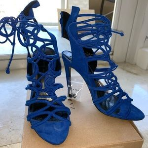 Zara Royal Blue Suede Lace Up Heels